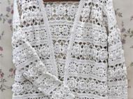现货!限时优惠! 日系立体花羊绒开衫纯手工镂空钩花长袖毛衣