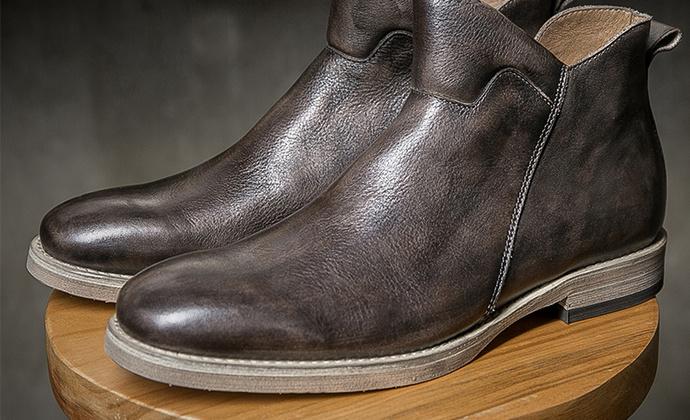 英伦复古高帮皮靴秋冬新品男士时尚拉链真皮马丁靴男短靴