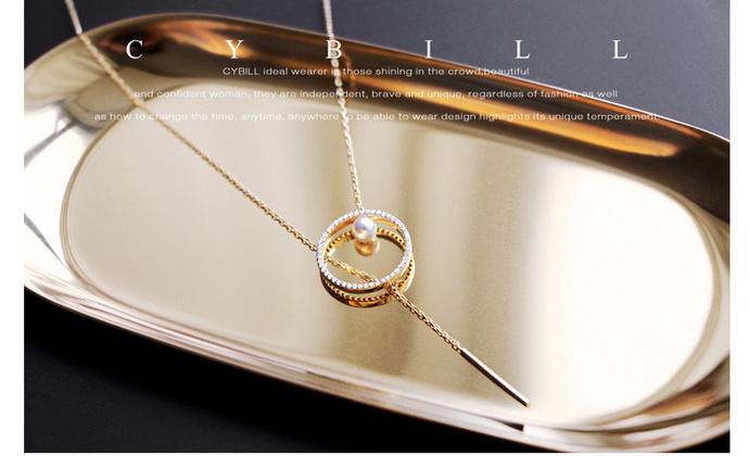 CYBILL原创品牌圆圈锁骨链项链韩国简约气质满钻珍珠毛衣链女