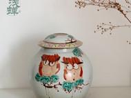 夜鹰系列 釉上粉彩手绘 纯手工陶瓷罐 茶叶罐