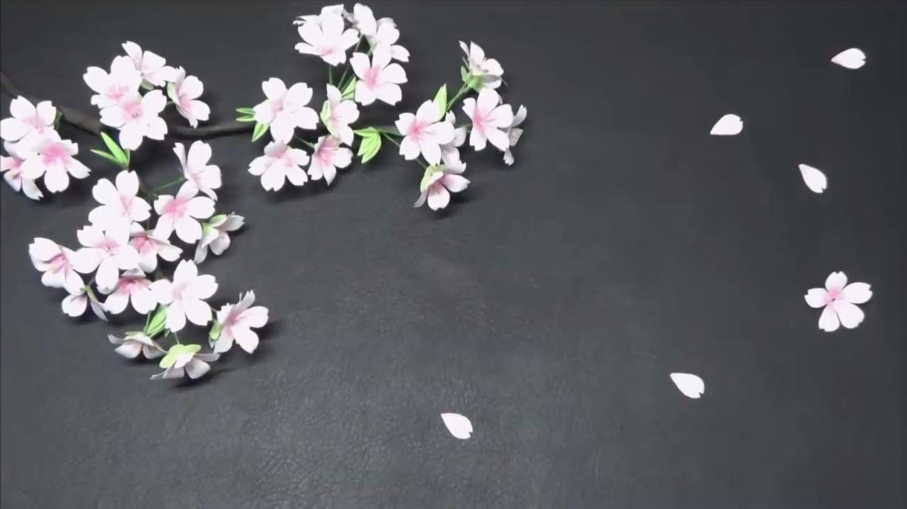 DIY手工纸花:樱花花束