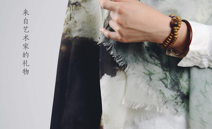 川朴艺术设计秋雨江南100%羊毛围巾