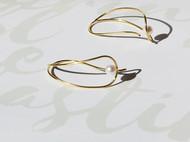 M.Q奎妮小姐 玲珑耳钉/925纯银天然珍珠弧线耳钉