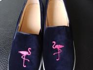 野兽派乐福鞋女单鞋 圆头厚底刺绣火烈鸟浅口平底鞋