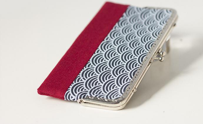 漫与手工:原创长款布艺钱包 手拿包 票据夹子 定制蕾丝 祥云红