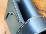 霖の手作 纯手工 纯铜扣 黑色植鞣牛皮 三折长款钱包
