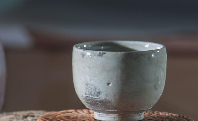 高温乐烧 白乐茶杯 银光志野