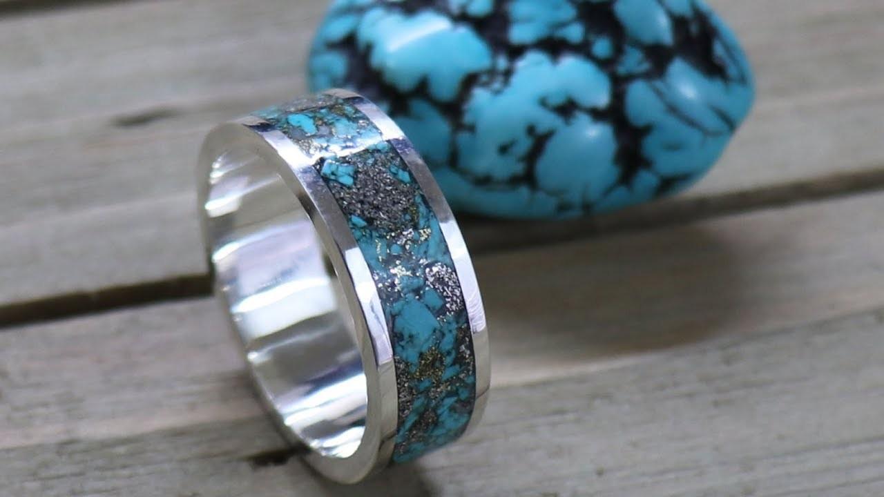 金工视频:绿松石镶嵌戒指手工制作过程(搬运自油管)