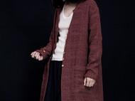棉麻提花休闲中长风衣-独立设计师品牌[荒腔]