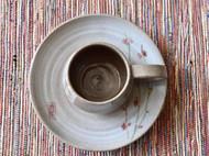 纯手工拉坯手绘粗陶水杯套装(杯碟一套)