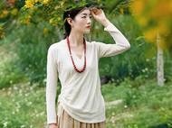 隐机者 100%纯棉新中式右衽 女式春秋长袖T恤针织衫打底衣打底衫