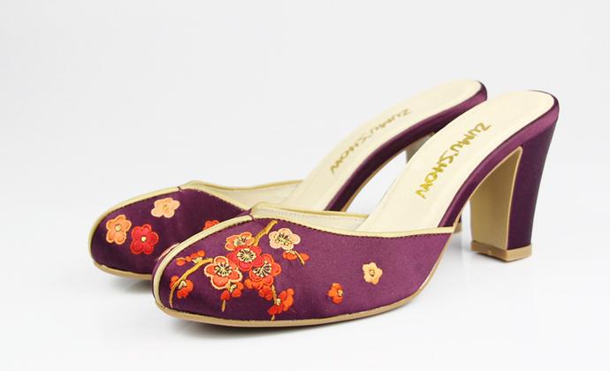 梅花手绣真丝缎面高跟时装拖鞋 纯手工刺绣 设计师品牌 祖母绣堂