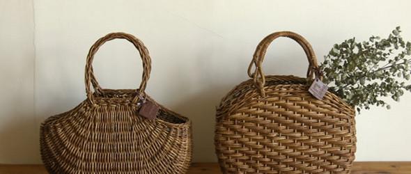 日本森系手工编织的篮子和包袋