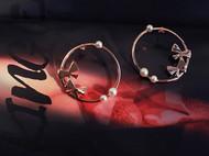 M.Q奎妮小姐 画扇/925纯银天然珍珠圆形扇耳钉
