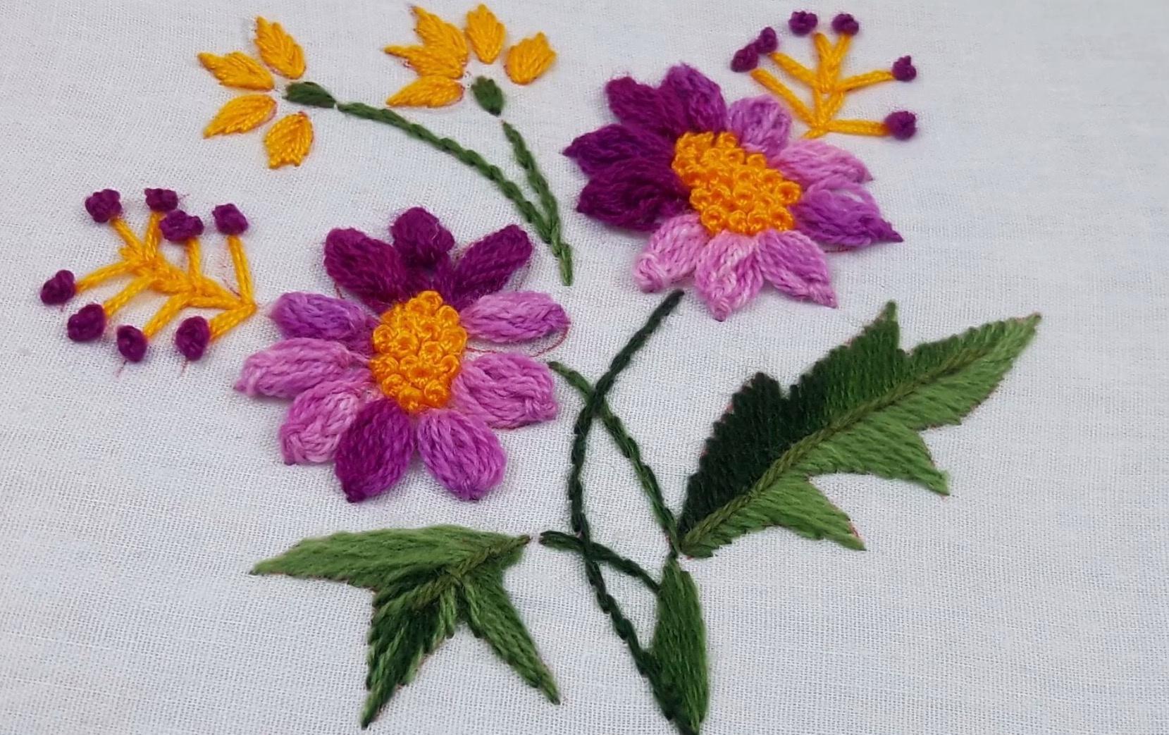 刺绣视频:刺绣花卉创作过程