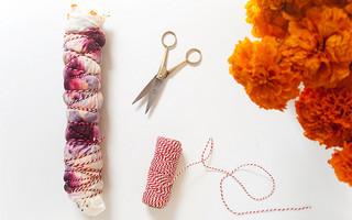 #扎染教程# 使用天然植物染料,DIY美丽的长方桌巾/桌旗手工diy教程