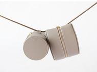 f2studio双生系列真皮圆筒半圆几何单肩包