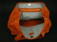 橘色荔枝纹手提单肩包