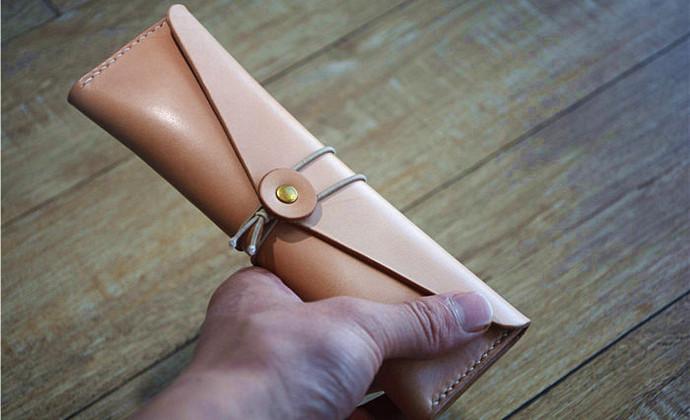 植鞣皮 复古 文艺 小清新 手工缝制 笔袋