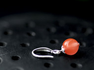 S952银天然南红玛瑙樱桃红水红耳环耳饰送礼