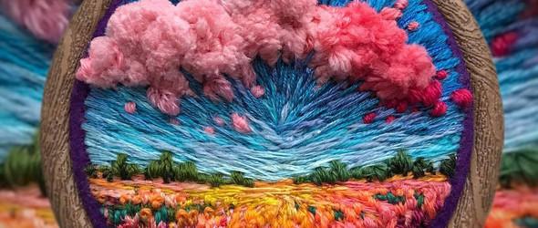 燦若晚霞的刺绣风景画 | 俄罗斯艺术家 Vera Shimunia 以针线创作的风景插画