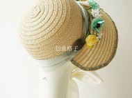 原创设计定制复古英剧古典剧花朵Bonnet纸辫草帽女写真走秀影视