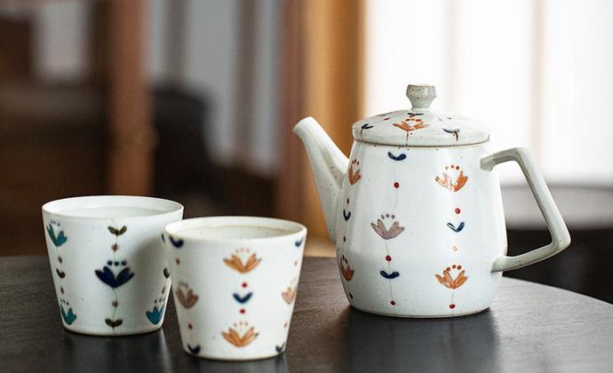 波佐见烧 滨陶 花甜茶器茶具系列