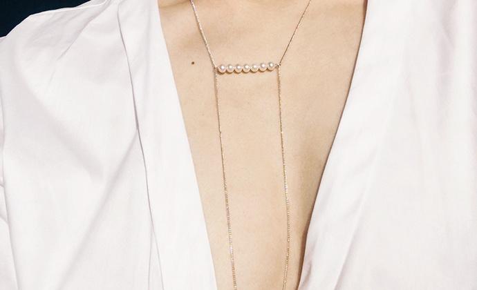 M.Q奎妮小姐 优雅横排天然珍珠长链/项链