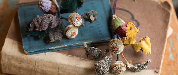 以金线绣表达自然与秋季的美好 | 日本刺绣艺人倉富 喜美代 (Kimiyo Works) 作品