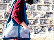 蓝染手织布拼合单肩包