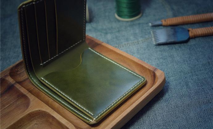 白馬手造 |手工制作皮具 马臀皮短夹/钱包 墨绿