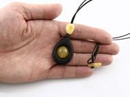 全手工打磨波罗的海沉船遗骸黑橡木蜜蜡皮绳项链 8.1 g