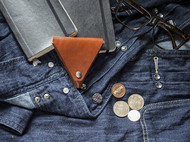 三角零钱包-手工植鞣革硬币包