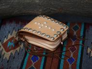 集点手作坊 手工皮具高桥复刻银扣 美分币 鹿皮绳 原色意大利腰包