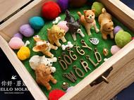 缤纷绒球犬の世界 手工微景观干花木盒 狗奴猫奴定制生日创意礼物