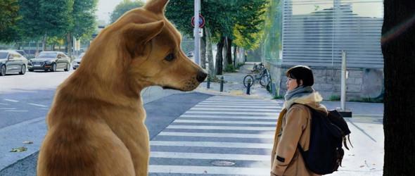 女生和她的狗 | 韩国画家 정우재(Jeong WooJae)的奇幻油画