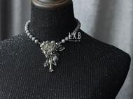 【LXB私人设计】重工立体花朵钉珠水晶项链