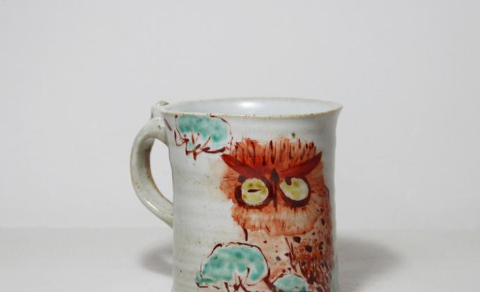釉上手绘 全手工陶瓷马克杯咖啡杯 夜鹰杯