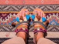 波西米亚风意大利植鞣革滴胶钻链条 流苏编织 纯手工制作凉鞋