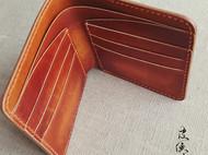 皮侠客PXK - 纯手工 多卡位短夹 意大利植鞣革 红棕色擦染设计